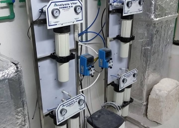 Διπλή διάταξη αντίστροφης όσμωσης Commercial Combo 80 ( παραγωγή 160 lt/ ώρα) με επιτηρητές λειτουργίας Water Guard.