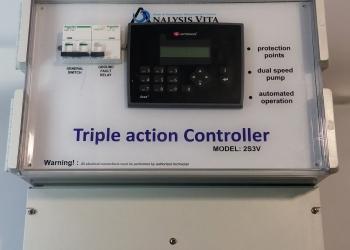 Πίνακας ελέγχου και προγραμματισμού λειτουργίας Triple Action για πισίνες υδροθεραπείας και Spa.
