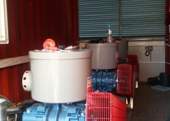 Μηχανοστάσιο τριών φυσητήρων, βιολογικού σε βιομηχανικά πλυντήρια.